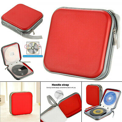 40 CD DVD Carry Case Disc Storage Holder CD Sleeve Wallet Ideal For In Car RED • 3.85£