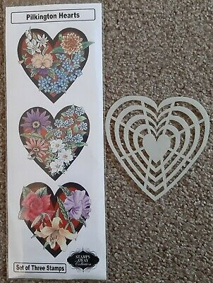 £19.95 • Buy STAMPS AWAY Set Of 3 Stamps PILKINGTON HEARTS + MASK Floral Hearts App 7.5 X 8cm