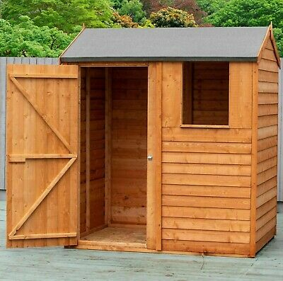 6x4 APEX REVERSE OVERLAP GARDEN WOODEN TOOL SHED WINDOW DIP TREATED WOOD 6FT 4FT • 289.94£