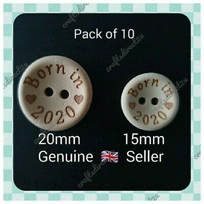 Children's Buttons - BORN IN 2020 - Wood - Baby - Crafting - Sewing - Scrapbook • 2.99£