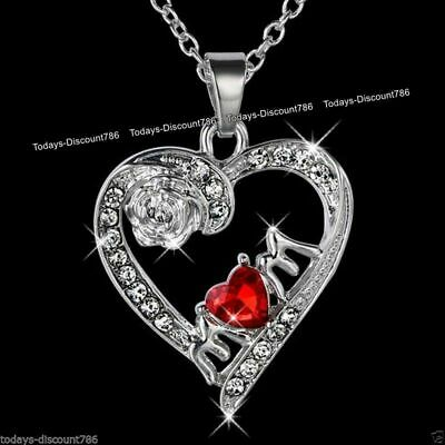 MUM Necklace Red Heart Crystal I Love You Gift For Her Mother Daughter Mom • 5.95£