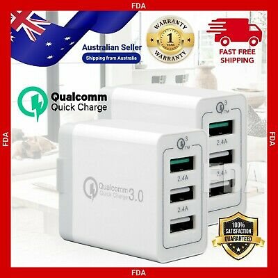 AU16.99 • Buy 30W Qualcomm 3 Port QC 3.0 IPhone Samsung Fast Charging USB Wall Charger Adapter