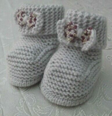 New Hand Knitted Baby Slip On Booties With Bow -  0-6 Months • 3.50£