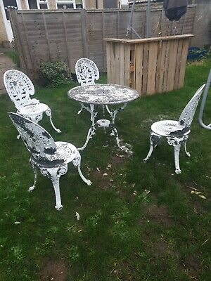 Cast Aluminium Garden Table And 4 Chairs 💥LOVELY DISTRESSED LOOK 💥 • 230£