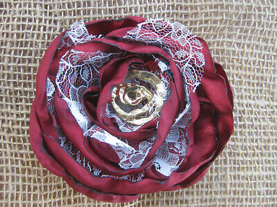 £2.99 • Buy Handcrafted, Satin & Lace, Red, Spanish Rose Flower For Craft Projects