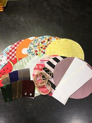 12 Mixed Fabric Jam Jar Covers With Sticky Labels, Elastic Bands And Gift Tags • 3.50£