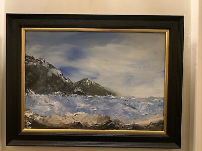 Beautiful Contemporary Framed Oil Painting Of The Sea And Coastal Rocks • 45£