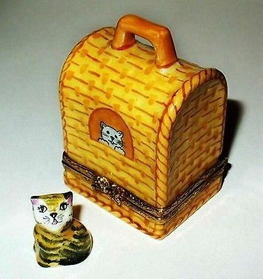 Limoges France Box -'wicker' Cat Carrier & Tabby Cat- Kitten -kitty- Yarn Inside • 112.24£