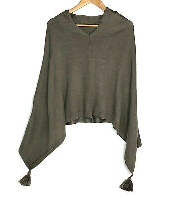 £12.72 • Buy Anna Lane Poncho Sweater Asymmetrical Taupe Brown With Pom Poms Women's One Size