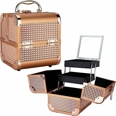 $59.31 • Buy Rose Gold Ice Cube 2-Tiers Extendable Trays Cosmetic Makeup Train Case With M...