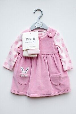 BHS Mini-B Pink Baby Girls Velour Winter Dress Outfit 3-piece Outfit 0-3 Months • 7.50£