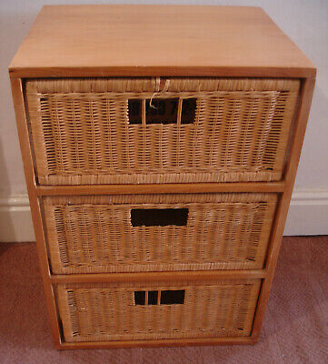 Three Drawer Wicker Rattan And Wood Storage Unit Bathroom Bedroom Etc • 15£