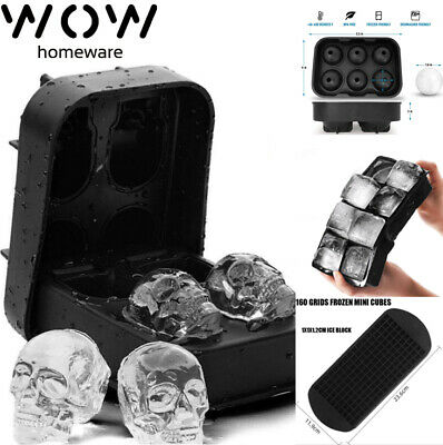 Ice Cube Maker Tray Big Silicone Mold Sphere Whiskey Block Ball Skull Frozen • 6.73£