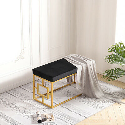 Black Modern Metal Velvet LivingRoom Bedroom Bench Seat Luxury Hallway Footstool • 82.95£