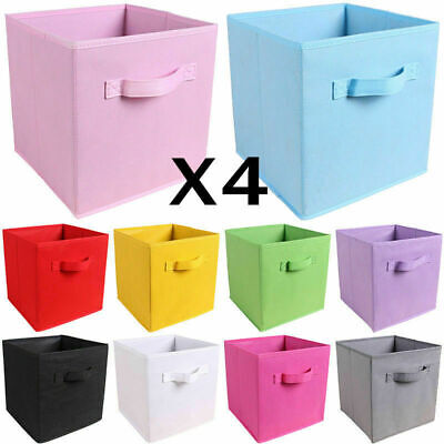 1/4X Foldable Canvas Storage Collapsible Box Fabric Cube Cloth Basket Bags ^O • 6.99£