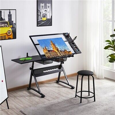 Height Adjustable Glass Drafting Table W/ Stool 2 Drawers Tilting Drawing Desk • 99.99£