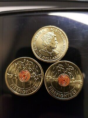 AU8 • Buy AUSTRALIA 2020 $2 DOLLAR FIREFIGHTERS  COLOR UNC COIN Free Postage!!