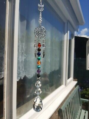 £6.25 • Buy 7 Chakra & Lava Stone Dream Catcher Guardian Angel. Hand Made With Agate Stones.