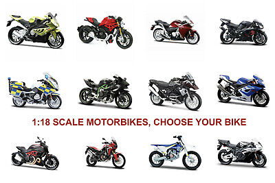 Motorbike 1:18 Scale Die-cast Motorcycle Model Bike Toy, CHOOSE YOUR BIKE. • 14.95£