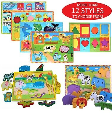 £6.99 • Buy 3D Baby Kids Wooden Puzzle Jigsaw Toys Educational Preschool Learning Toy UK