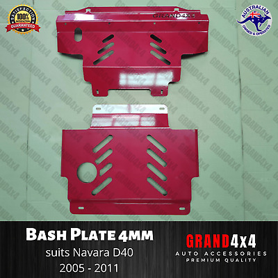 AU180 • Buy Steel Bash Plate 4mm To Suit Nissan Navara D40 2005-2011 ST ST-X RX 2pc Red