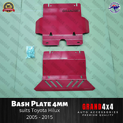 AU175 • Buy Steel Bash Plate 4mm Red 2pc To Suit Toyota Hilux N70 SR SR5 2005 - 2015