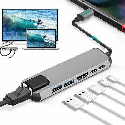 AU26.60 • Buy USB Type C Hub Adapter Dock With 4K HDMI PD RJ45 Ethernet For  For  Pro