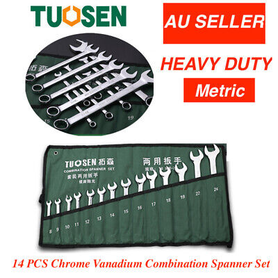 AU29.95 • Buy 14PCS  Spanner Set Metric  Combination Open  Box Wrench+Roll Bag 8-24mm