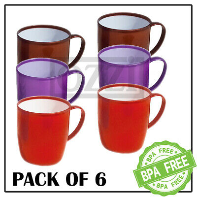 £7.49 • Buy 6 X Reusable COLOURFUL PLASTIC MUGS Drinking Cups Tea Coffee Camping Picnic Kids