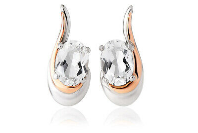 £59 • Buy NEW Welsh Clogau Silver & Rose Gold Serenade White Topaz Earrings £50 Off!