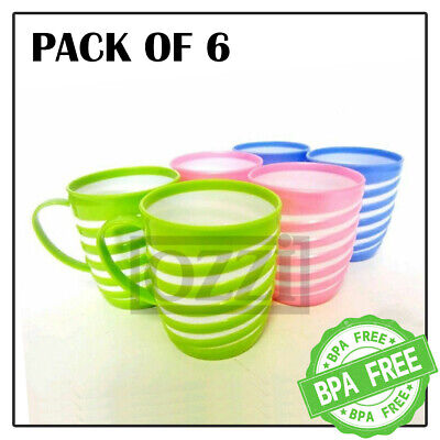 £7.49 • Buy 6x Reusable Striped COLOURFUL PLASTIC MUGS Drinking Cups Tea Coffee Camping Kids