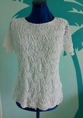 £6 • Buy Ladies New White Stretch Lace Blouse, Forever  By Michael Gold, Size M