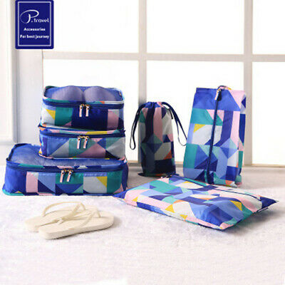 AU13.49 • Buy 6X Travel Packing Cubes Set Luggage Suitcase Storage Pouch Clothes Organiser Bag
