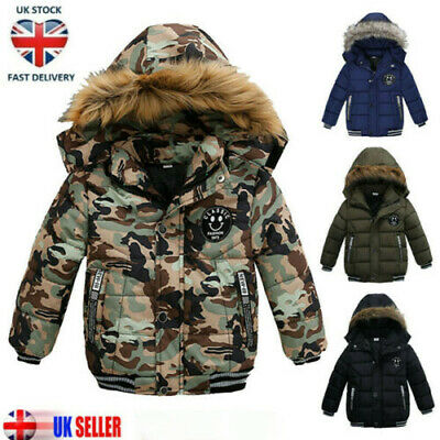 Kids Boys Winter Long Warm Quilted Jacket Cotton Padded Coat Hooded Thick Parka • 17.61£