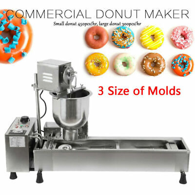 £768 • Buy 220V Commercial Automatic Donut Maker Making Machine Wide Oil Tank 3 Sets Mold