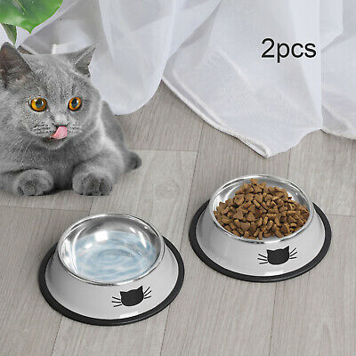 £5.99 • Buy 2x Pet Dog Puppy Cat Feeding Bowls Stainless Steel Food Water Bowl Cute Cat Claw