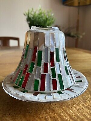 Yankee Candle Glass Mosaic Small Shade And Base Set In Christmas Colours • 2.70£