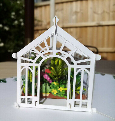 Greenhouse And Flowers Pop Up Card • 13£