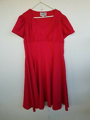 Collectif 50s Pinup Girl Bettie Page Style Red Print Full Skirt Dress XXL 18 • 24.99£
