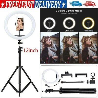 AU27.42 • Buy 12  LED Ring Light Lamp Stand Kit Dimmable Photo Studio Selfie Phone Makeup Live