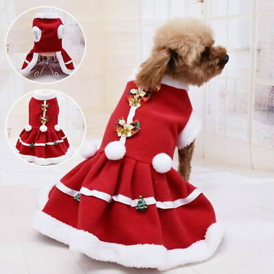 UK Christmas Pet Puppy Dog Cat Santa Claus Costume Outfits Hoodie Fancy Dress • 6.25£