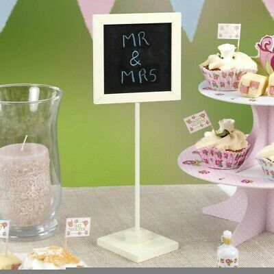 £2.95 • Buy Ivory Chalkboard Table Number, Message Board With Stand