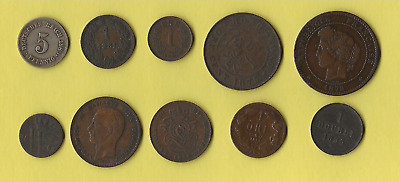 10 Foreign 19th Century Coins • 4.99£