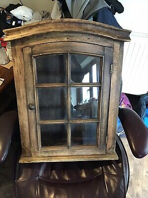 Two Antique Pine Style Wall Display Cabinets • 120£