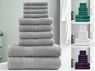 TORONTO TOWEL 10pc Bale Set 100% EGYPTIAN Cotton Super Soft Extra Absorbent Gift • 15.95£