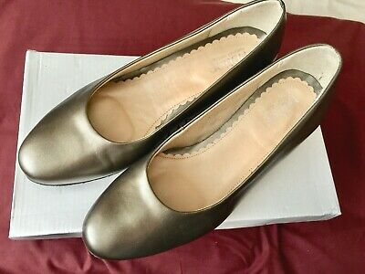 New With Tags HOTTER  Shimmy  Shoes Light Bronze 100% Leather UK 6.5 Width D • 15£
