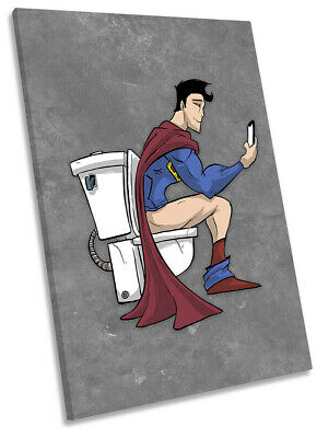 Superhero Superman Toilet Bathroom Picture CANVAS WALL ART Portrait Print Grey • 23.99£