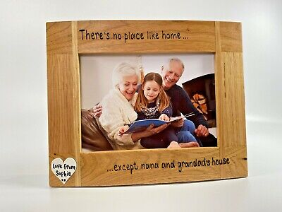 £16.99 • Buy No Place Like Home Except Nana And Grandads | Personalised Oak Wood Photo Frame