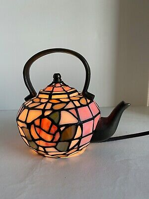 Stained Glass Tea Pot Kettle Table Lamp Night Light Corded Handcrafted VTG • 59.95£