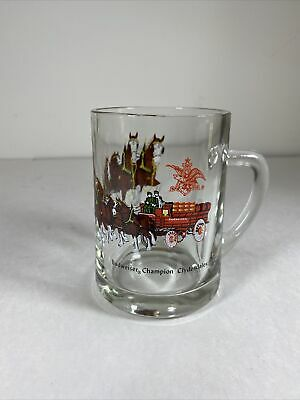 $ CDN15.63 • Buy Vintage Budweiser Champion Clydesdale Horses Wagon Glass Beer Mug 4.75